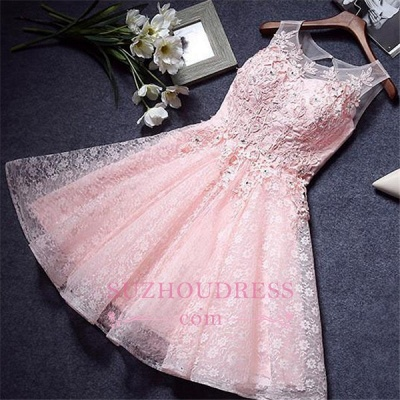A-Line Pink Lace Appliques Sleeveless Homecoming Dress_4