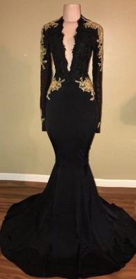 Gold Lace Long Sleeve Prom Dress  | Sexy Black Open Back Mermaid Evening Dress  BA7942_3