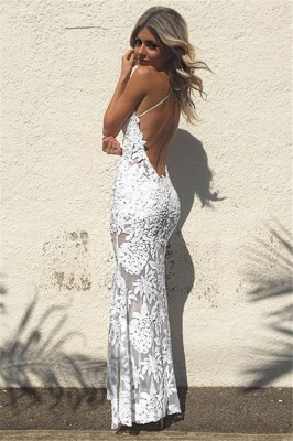 White Lace Sheath Backless Prom Dresses  Floor Length Evening Gowns_3