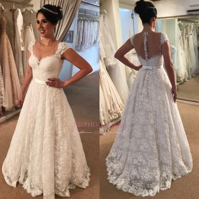 Modern Lace Wedding Dress  | A-line Zipper Cap-Sleeve Bridal Gowns_1