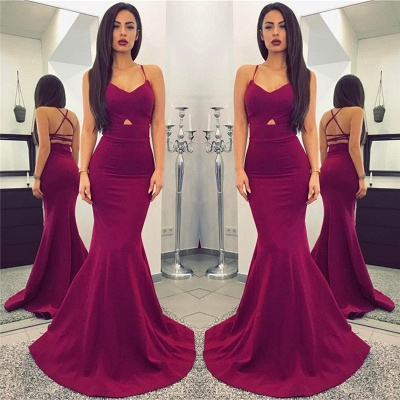 Sexy Mermaid Spaghetti Straps Evening Gowns Open Back Sleeveless  Formal Party Dresses BA7314_3