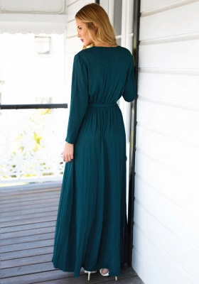 Long Sleeve Plunging Neck Summer Dress Chiffon Slit Long Party Gowns BA4579_3