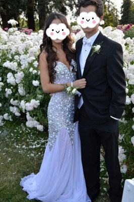 V-neck Sparkly Beaded Prom Gowns Chiffon Open Back Evening Dresses_1