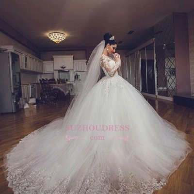 Luxurious Long Sleeves Ball Gown Wedding Dresses Lace Appliques Tulle Wedding Gowns  BA3182_4