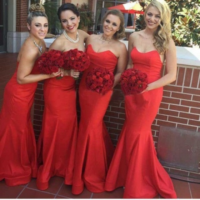 Elegant Red Mermaid Long Bridesmaid Dresses Simple  Satin Floor Length Formal Wedding Dress Under 100_2