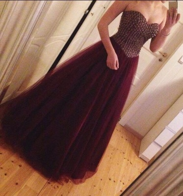 Crystal Sweetheart Burgundy Tulle  Prom Dress A-Line Beading Floor Length Party Dress_3