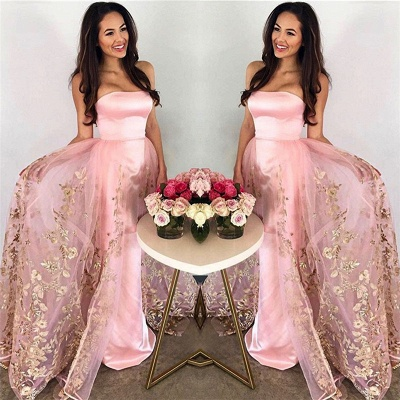 Strapless Candy Pink Prom Dress  Gold Lace Appliques Tulle Sleeveless Evening Gown_3