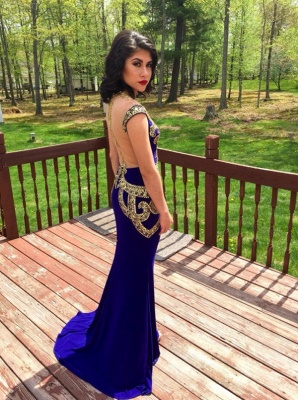 Latest Crystal Mermaid Formal Occasion Dress with Beadings Sweep Train Open Back Evening Gown_4