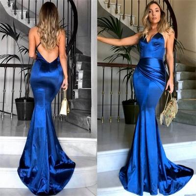 Royal Blue V-neck Open Back Sexy Formal Evening Dresses Silk Like Satin Evening Gown PT0386 FB0103_3