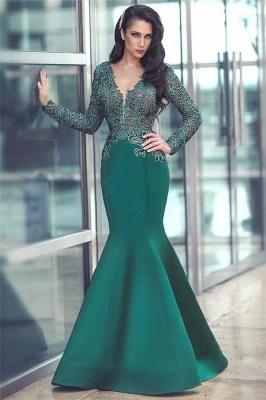 V-neck Long Sleeve Lace Sexy Evening Dress | Mermaid Dark Green Popular Prom Dress_4