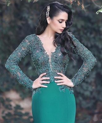 V-neck Long Sleeve Lace Sexy Evening Dress | Mermaid Dark Green Popular Prom Dress_3