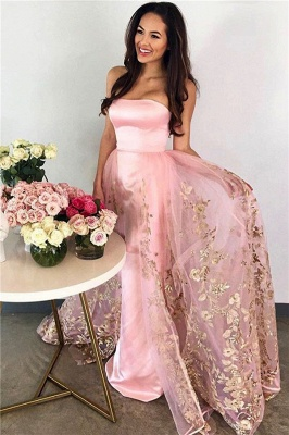 Strapless Candy Pink Prom Dress  Gold Lace Appliques Tulle Sleeveless Evening Gown_1