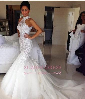 Halter Long Sleeveless Mermaid Sexy Tulle Applique Wedding Dresses_1