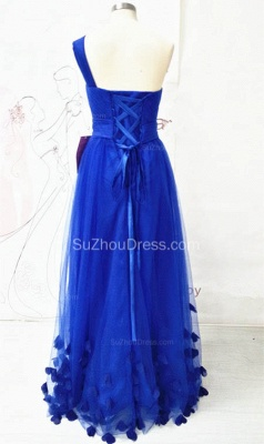 One Shoulder Royal Blue Long Prom Dresses with Butterfly Formal Lace-up Tulle Cute Evening Dresses_2