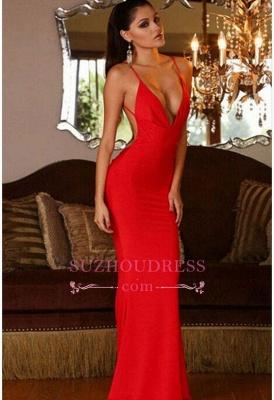 Red Sleeveless Sexy Mermaid V-neck Open-Back Prom Dress BA4543_3