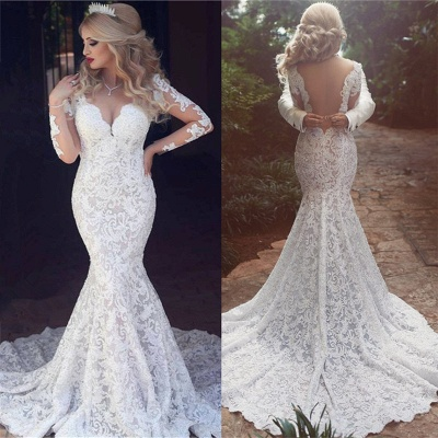 Long Sleeve Mermaid Lace Wedding Dress Sexy Open Back V-neck Classic Bridal Gown_4
