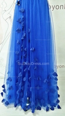 One Shoulder Royal Blue Long Prom Dresses with Butterfly Formal Lace-up Tulle Cute Evening Dresses_3