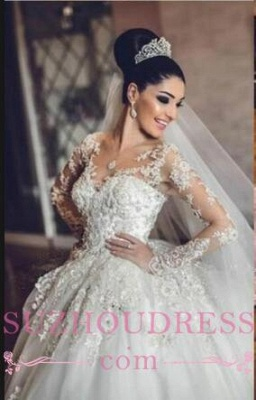 Luxurious Long Sleeves Ball Gown Wedding Dresses Lace Appliques Tulle Wedding Gowns  BA3182_2