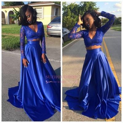 Two Piece Lace Royal Blue Long Sleeve  V-neck Prom Dress BA5258_1