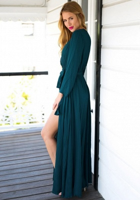 Long Sleeve Plunging Neck Summer Dress Chiffon Slit Long Party Gowns BA4579_4