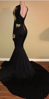 Gold Lace Long Sleeve Prom Dress  | Sexy Black Open Back Mermaid Evening Dress  BA7942_4
