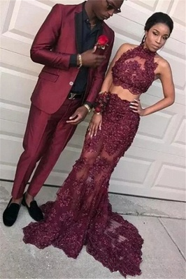 Burgundy Two Pieces Tulle Appliques Prom Dresses  Mermaid Sleeveless Evening Dresses BA8109_1