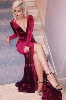 Deep V-Neck Velvet Formal Dress  Side Slit Sexy Long Sleeves Evening Dress BA6171_2