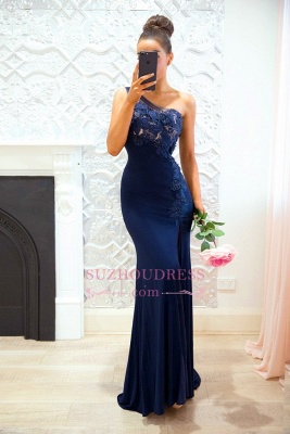 Sexy Navy Blue One-shoulder Prom Dresses | Split-front Lace Sheath Evening Dress_3