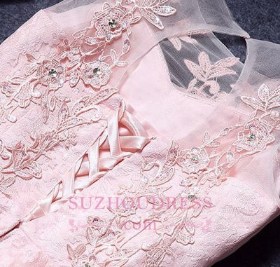 A-Line Pink Lace Appliques Sleeveless Homecoming Dress_1
