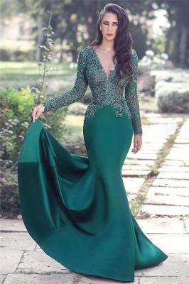 V-neck Long Sleeve Lace Sexy Evening Dress | Mermaid Dark Green Popular Prom Dress_1