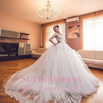 Luxurious Long Sleeves Ball Gown Wedding Dresses Lace Appliques Tulle Wedding Gowns  BA3182_1
