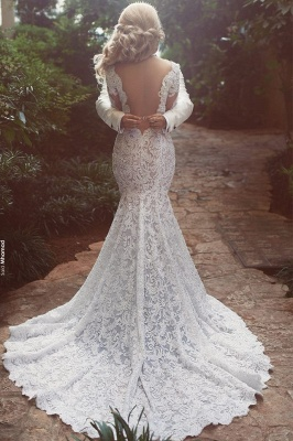 Long Sleeve Mermaid Lace Wedding Dress Sexy Open Back V-neck Classic Bridal Gown_3
