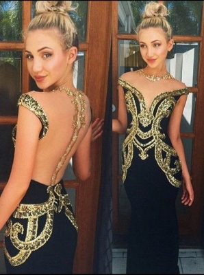Latest Crystal Mermaid Formal Occasion Dress with Beadings Sweep Train Open Back Evening Gown_1
