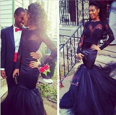 Long-Sleeve Tulle Sheer Lace Puffy Mermaid Prom Dresses_1