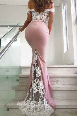 Stunning Pink Off Shoulder Lace Long Mermaid Prom Dress Sleeveless Appliques Evening Dresses On Sale_3