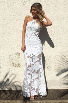 White Lace Sheath Backless Prom Dresses  Floor Length Evening Gowns_1