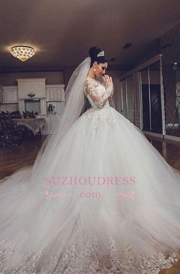 Luxurious Long Sleeves Ball Gown Wedding Dresses Lace Appliques Tulle Wedding Gowns  BA3182_5