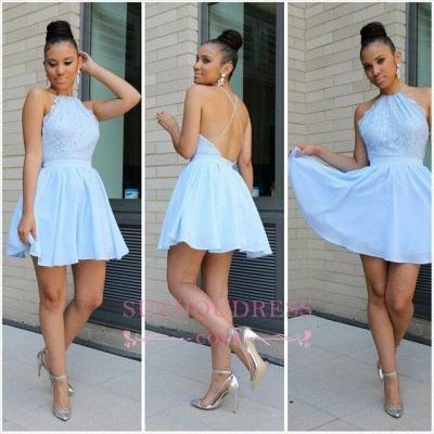 Chiffon Blue Halter Open-Back Short Lovely Lace  Homecoming Dresses BA3679_1