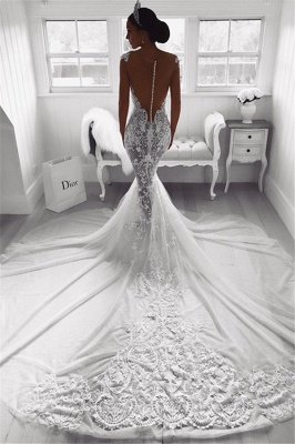 Sexy Mermaid Straps Wedding Dresses  | Sheer Tulle Sleeveless Appliques Bridal Gowns_3