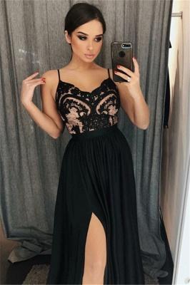 Black A-line Spaghetti Straps Evening Dresses   Side Slit Appliques Prom Dresses_3