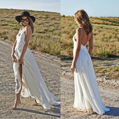Spaghetti Straps Beach Wedding Dresses  V-neck Open Back Chiffon Bridal Gown BO7255_6