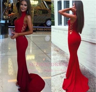Mermaid Sexy Sweep-Train Sleeveless Red High-Neck Prom Dress BA4418_4