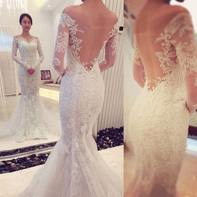 Off-the-shoulder Long Sleeve Mermaid Lace Wedding Dress | Bridal Gowns Online_3