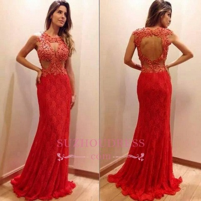 Lace-Appliques Newest Sweep-Train Mermaid Sleeveless Prom Dress_1