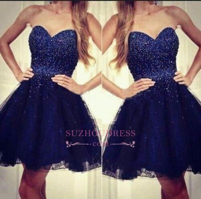 Tulle Beading Short Sequins Strapless Navy-Blue Sweetheart Homecoming Dresses_1