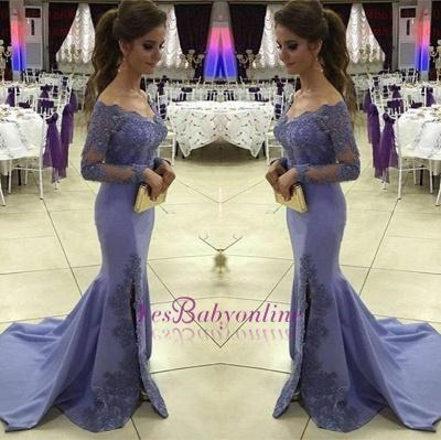 Appliques  Off-the-Shoulder Mermaid Side-Slit Long-Sleeves Elegant Prom Dress_1