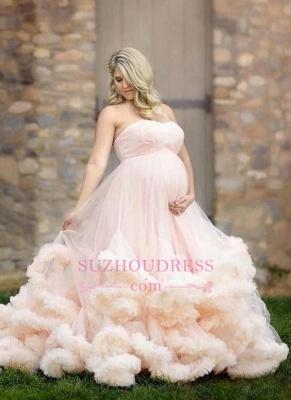 Maternity Pregnant Cloud Pink Long Strapless Wedding Dresses_3