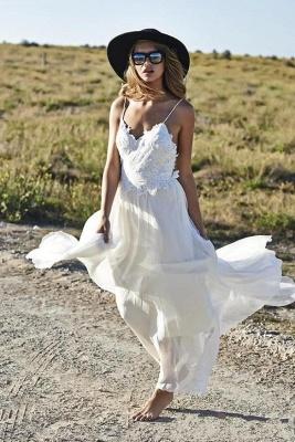 Spaghetti Straps Beach Wedding Dresses  V-neck Open Back Chiffon Bridal Gown BO7255_4
