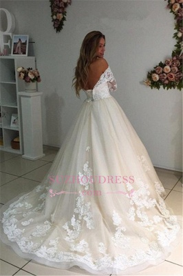 3/4 Sleeves Bridal Gowns  A-Line Champagne Appliques Tulle Backless Lace Wedding Dresses_3