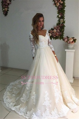 3/4 Sleeves Bridal Gowns  A-Line Champagne Appliques Tulle Backless Lace Wedding Dresses_1